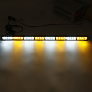 35inch 32 Led Warning Strobe Light Traffic Advisor Emergency Hazard Bar Amber wh