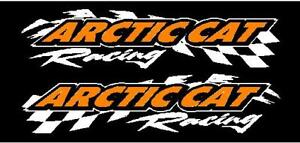 Arctic Cat Racing Checker Snowmobile 2 Sticker Decal Set 11 x48 White Orange