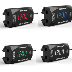 6 30v Motorcycle Electronic Clock Thermometer Voltmeter Waterproof Led Watch
