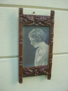 Antique Aesthetic Movement Carved Oak Leaf Acorn Picture Frame Late 1800s