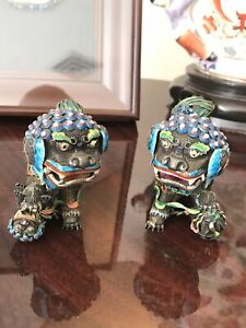 Chinese Gilt Silver Enamel Foo Dogs