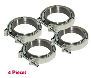 4 Pieces Downpipe Intercooler Turbo 3 id V band Clamp Flanges Kit Mild Steel