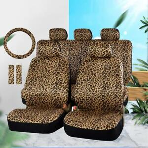 12pcs Car Seat Cover Set All Year Round Use Leopard Print Full Set Car Seat Case