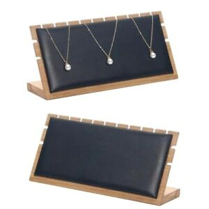2pcs Necklace Display Stand Bamboo Wood Jewelry Organizer Holder Plate Black