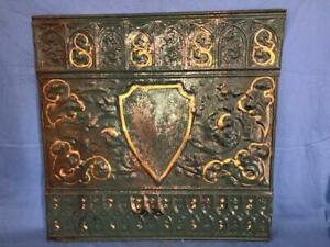 Antique 24 X 24 Salvaged Detailed Victorian Metal Tin Ceiling Tile Ornate C