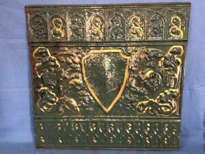 Antique 24 X 24 Salvaged Detailed Victorian Metal Tin Ceiling Tile Ornate D