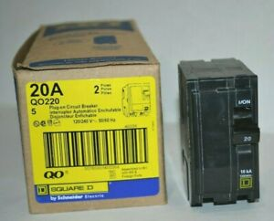 Lot Of 5 Square D Qo220 2 Pole 20 Amp 120 240v Plug in Qo Circuit Breakers New