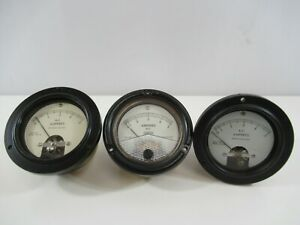 A And M Instruments Phaostron Ammeter 0 5 Amperes Mr36w005acaar Lot Of 3