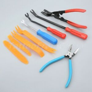 9pcs Kits Clip Panel Door Removal Fastener Remover Pry Installer Tool For Car