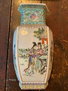 Beautiful 6 Sided Chinese Porcelain Vase With Panels Of Ladies In Famille Rose