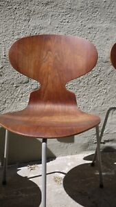 2 X Arne Jacobsen Ant Chair 1952 First Edition Rare Vinyl Wrapped Legs
