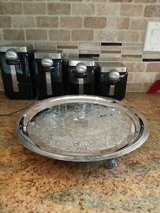 Vtg Lehman Bros Silver Ware Large Footed Electric Warming Serving Tray