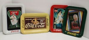 COCA-COLA LOT 4 Small Serving Trays Collectable VTG Tin Coke Trays 1980's & 90's