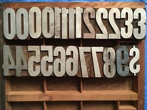 Antique Wood Letterpress Printing Press Type Block Letters Typeset Numbers 24 Pc