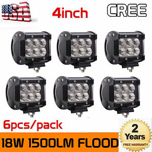 6x 4 inch 18w Led Work Light Bar 4wd Offroad Flood Pods Fog Atv Suv Driving Lamp