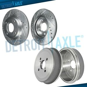 Front Drilled Brake Rotors Rear Drums For 1993 2002 Toyota Corolla Chevy Prizm