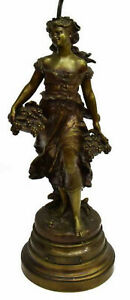 Lamp Table Metal French Figure Auguste Moreau Early 1900s Gorgeous Vintage
