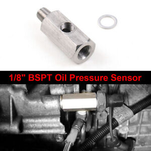 1 8 Bspt Oil Pressure Sensor Tee To Npt Adapter Turbo Supply Feed Line Gauge T