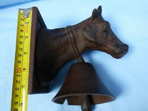 Vintage Cast Iron Farm Store House Door Bell Cow Head Cattle Novelty Strong Soun