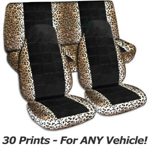 Animal Print Black Car Seat Covers For Any Car Truck Van Suv Jeep Full Set