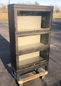 Vintage 3 Tier Metal Barrister Bookcase Industrial Stacking Bookcase