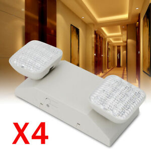 Led Emergency Lights With Battery Back Up Dual Square Head Exit Light 4pcs set