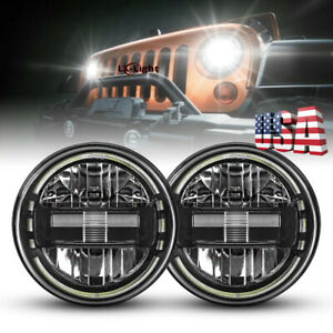 Pair 7 inch Round Halo Led Headlights Hi lo For Jeep Wrangler Jk Lj Tj 1997 2017