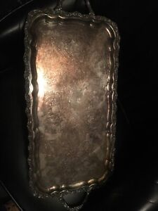1900s William Adams Endland Silver Plate Serving Tray Rectangular Footed Handles