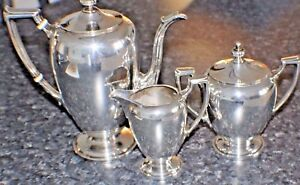 3 Sterling Silver Tea Set Hallmarked Reed Barton Tea Pot Sugar Bowl Creamer