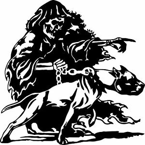 Large Grim Reaper Pitbull Dog Chain Skull Car Truck Window Vinyl Decal Sticker