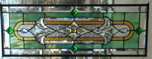 Stained Glass Transom Window Hanging 32 X 12 1 2 Brass Border Edging