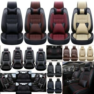 Universal Car Seat Cover Set Seat Protector cushions pillows 5 seats Pu Leather