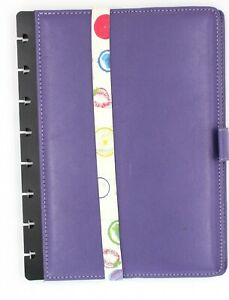 Levenger Purple Leather Notebook Cover With Notebook Belt Pre owned