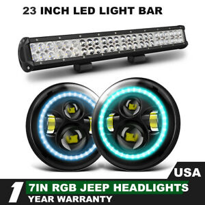 Rgb Drl Headlights 23 Led Bar Hi Lo Beam Front Bumper For Jeep Cj 7 1976 1986