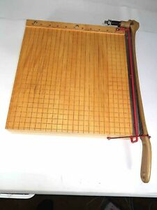 Vintage Ingento Model 1132 Paper Cutter 12 Cast Iron Maple Wood Made In Usa