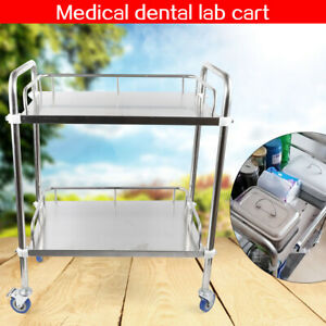 Thick Stainless Two Layer Medical Serving Dental Lab Cart Trolley Portable Usa