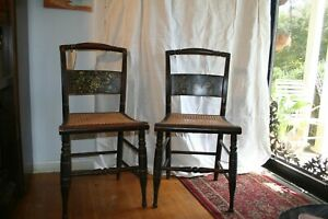 Pair Of Hitchcock Dining Chairs With Caned Seats Original Stencil 19 Century