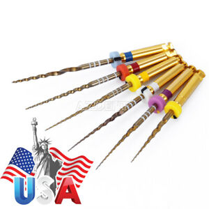 Dental 25mm Gold Taper Niti Rotary Files Endodontic Engine Use 6pc pack Usps