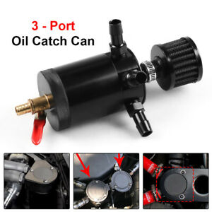 Racing Aluminum 3 port Oil Catch Can Tank Reservoir Breather Filter Drain Valve