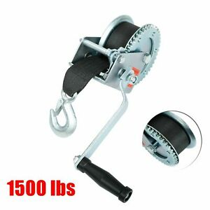 1 500 Lb Manual Trailer Winch With Hook And 20 Strap Hand Crank Boat Pull Tow