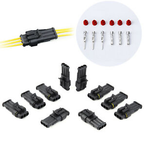 50pcs 3 Pin Super Seal Superseal Waterproof Electrical Wire Connector Kit Plug