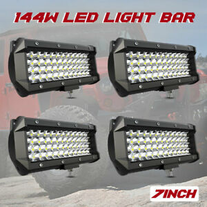 4x 7 inch Led Pods Light Bar Spot For Truck Offroad 4wd Suv Driving Fog Boat 6
