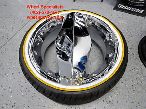 20 Inch Chrome Single Blade Blades Choppers Texas Style Cadillac Vogue Tires New