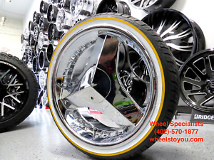 20 Inch Chrome 3 Blade Blades Choppers Texas Style Buick Vogue Tires New Set 4