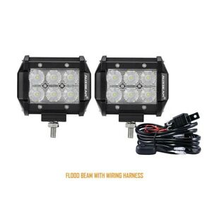 4 Inch Led Work Light Bar Cree Flood Beam 18w 1800lm 2pcs With Switch