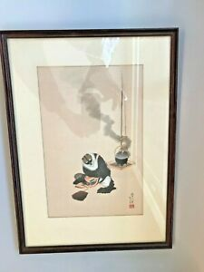 Antique 1848 Hokusai Katsushika Woodblock Print The Badger And Tea Kettle