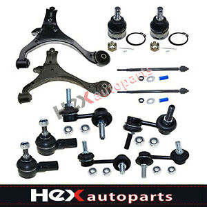 12pc Front Suspension Kit Control Arms Tie Rod For 2001 2005 Honda Civic Hybrid