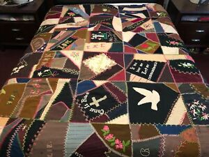 Antique 1902 Crazy Quilt Heavily Embroidered Silk Satin Velvet Bible Cross Love