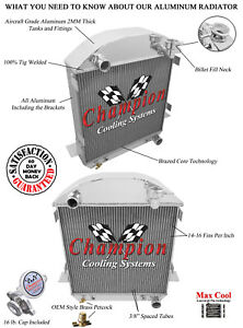 3 Row Cold Champion Radiator For 1917 1927 Ford T Bucket Chevy Configuration