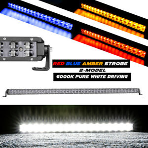 6 20 40 Single Row Cree Led Light Bar Combo Driving Emergency Off Raod Atv
